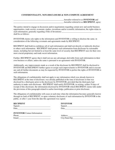 sample non disclosure and non compete agreement for invention 1