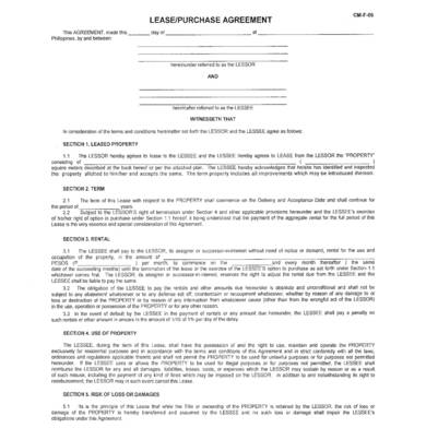 sample property lease purchase agreement 1