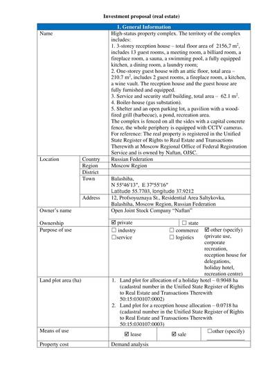 sample real estate investment proposal template