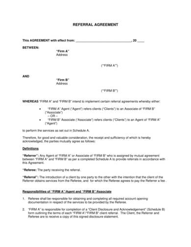 sample referral agreement template