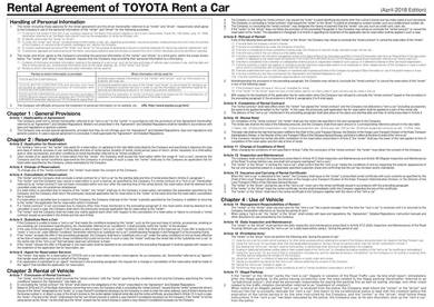 sample toyota car rental agreement 1