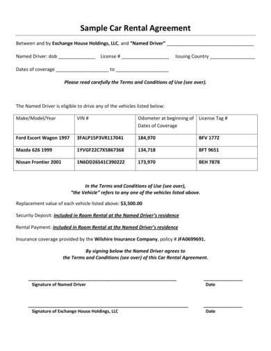 sample web car rental agreement 1