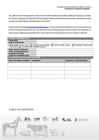 simple business investment proposal template