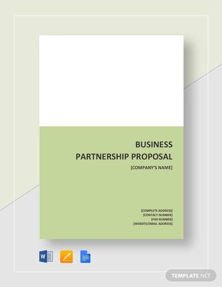 simple business partnership proposal template