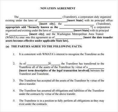 simple novation agreement template