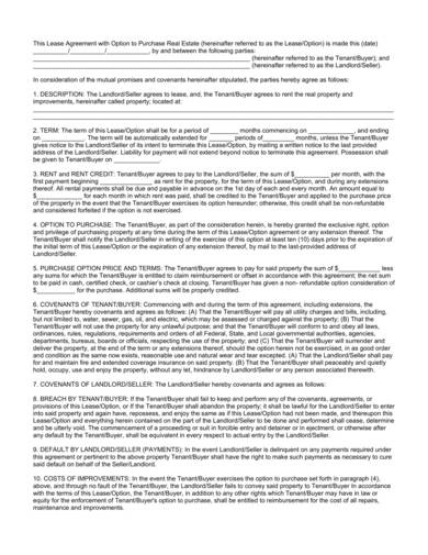 standard lease purchase agreement sample 2