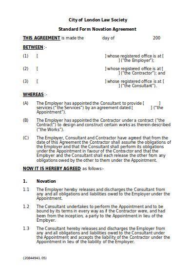 standard novation agreement template