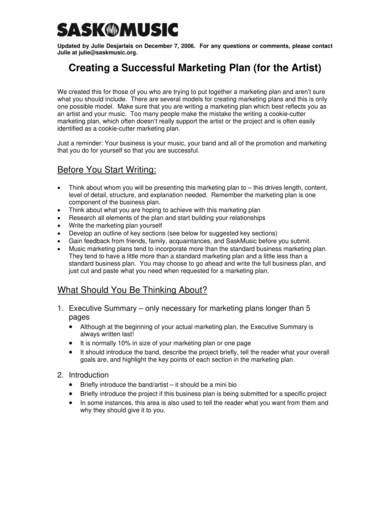 successful artist marketing plan template