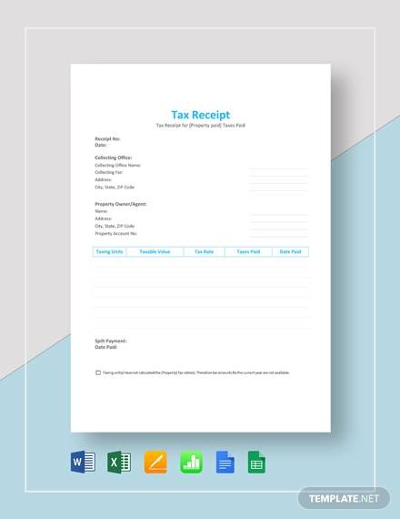 tax receipt template