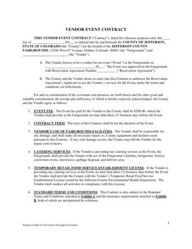 vendor event contract sample 1