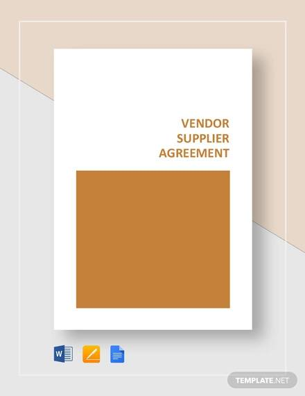 vendor supplier agreement template