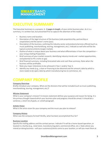 music management company business plan