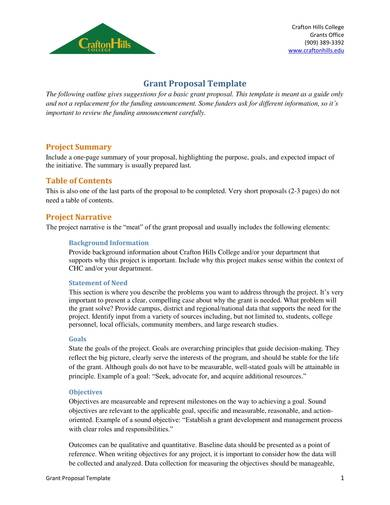 basic fundraising grant proposal template