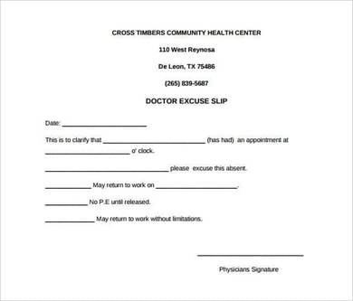 blank doctors excuse slip note for work
