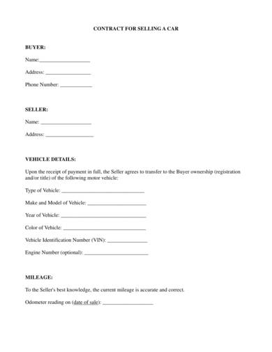 car sales contract sample