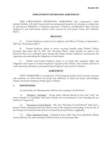 employment separation agreement sample