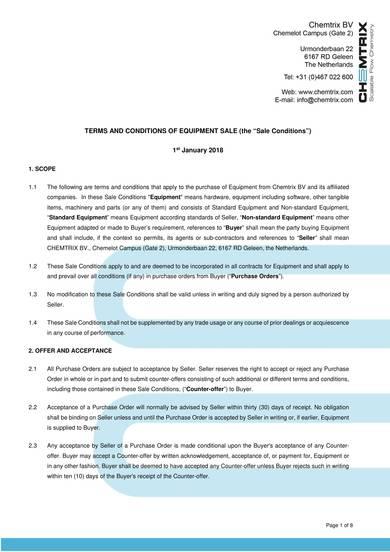 equipment sales contract sample