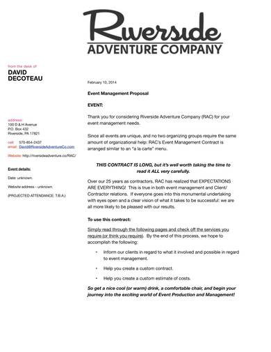 event management contract sample 01