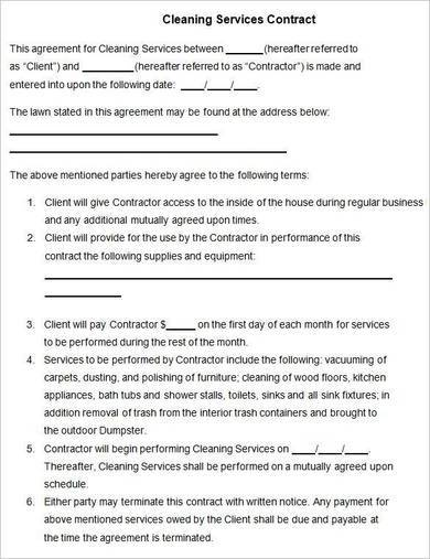 free cleaning services contract template