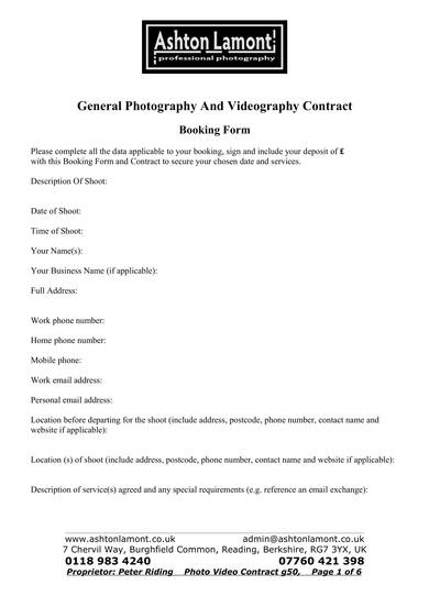 general photography and videography contract