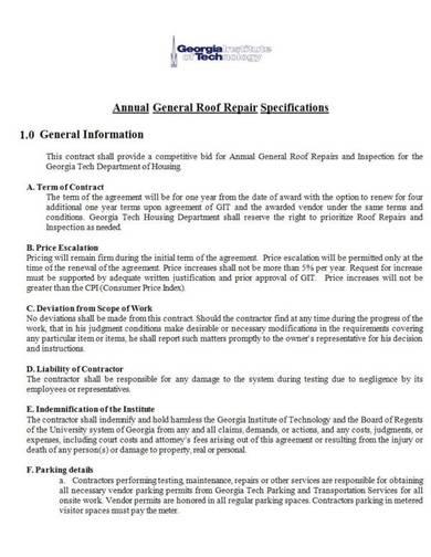 general roof repair contract sample