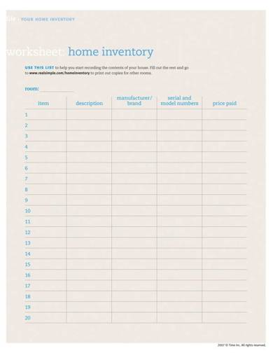 home inventory worksheet template