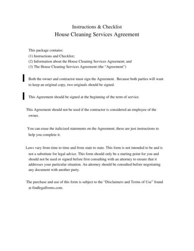 house cleaning services agreement contract