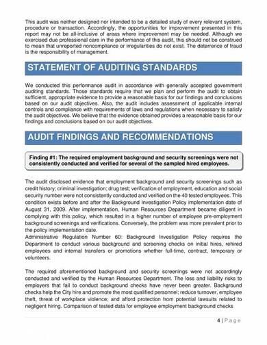 human resources department audit report