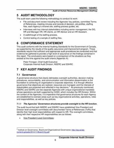 human resources management audit report