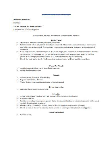 laboratory standard operating procedure template