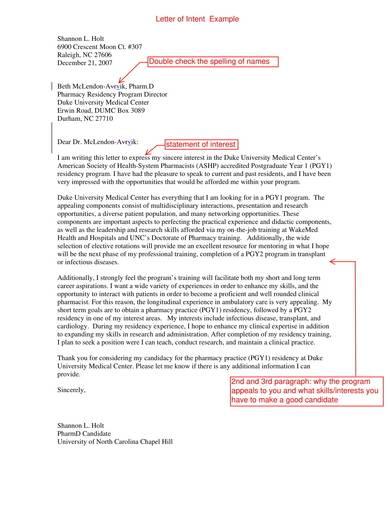 letter of intent for pharmacy residency program