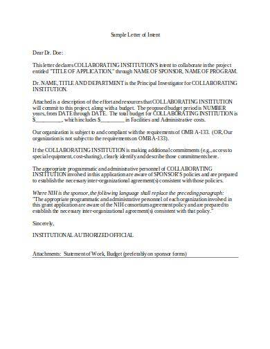 letter of intent to collaborate in project