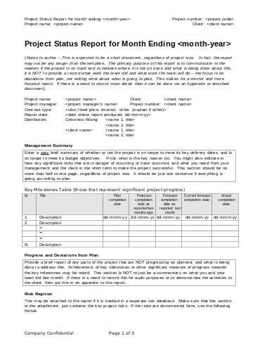 monthly project status report sample template