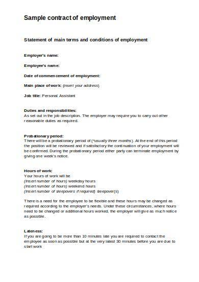 personal assistant employment contract