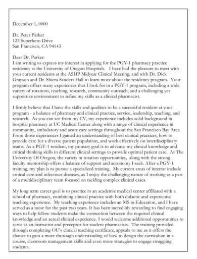 pharmacy residency letter of intent sample