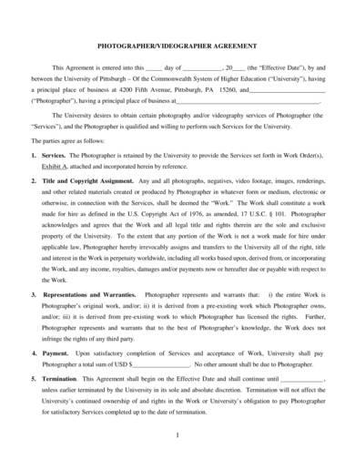 photographer agreement contract