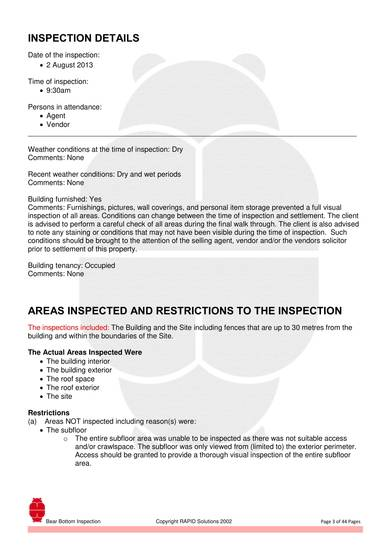 pre purchase building inspection report 03