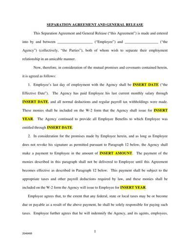 printable separation agreement sample template