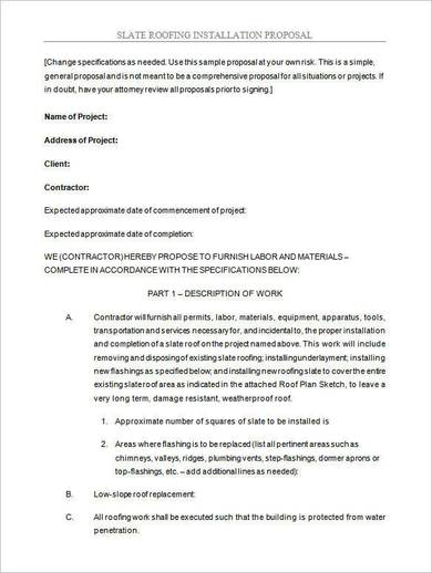 printable slate roofing installation contract template