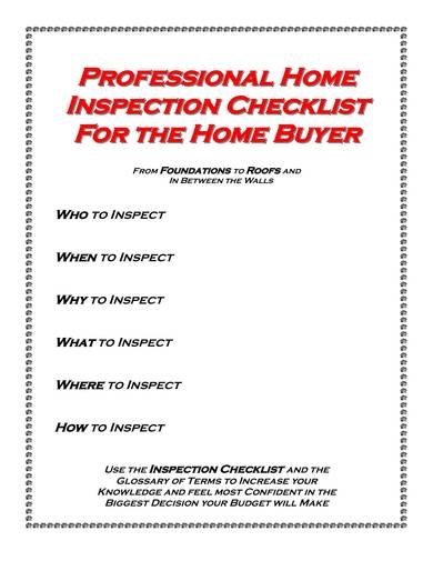 professional home inspection checklist sample