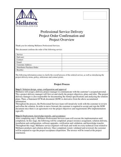 professional service delivery order confirmation sample