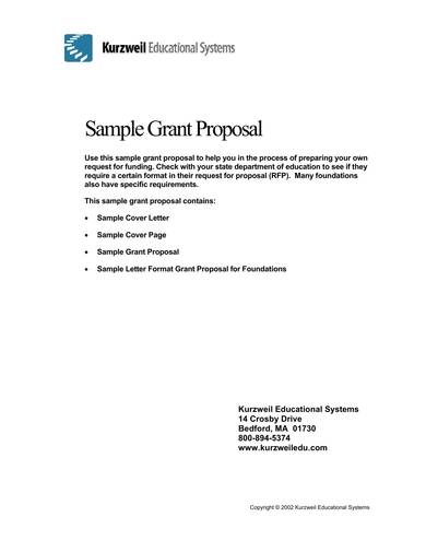request for funding grant proposal sample