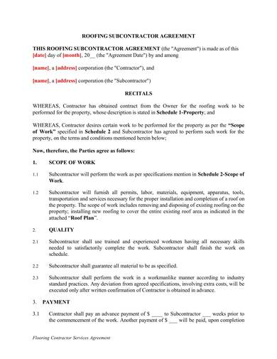 roofing subcontractor service agreement contract