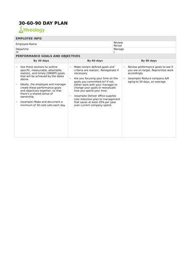sample 30 60 90 day plan perfromance plan 1