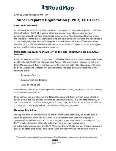 sample crisis management plan for organization