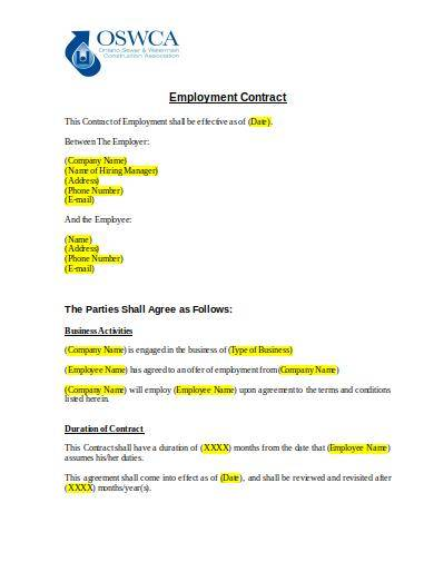 sample generic employment contract