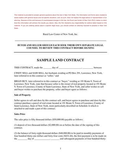 sample land sales contract