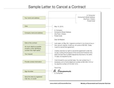 sample letter to cancel a contract 1