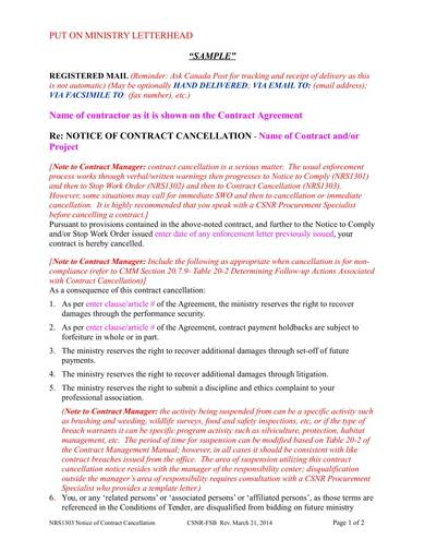 sample notice of contract cancellation 1