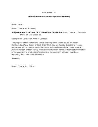 sample notification to cancel stop work order 1